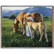 """Beautiful Blondes Horse"" Woven Blanket"
