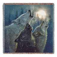 """""""In Harmony Howling Wolves"""" Woven Blanket"""