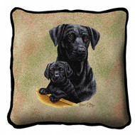 Black Lab with Puppy Pillow