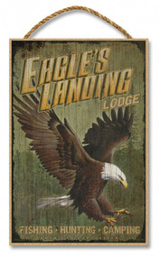 """Eagles Landing Lodge Rustic Advertising Wooden 7"""" x 10.5"""" Sign"""