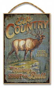 """Elk Country Guide Service Rustic Advertising Wooden 7"""" x 10.5"""" Sign"""