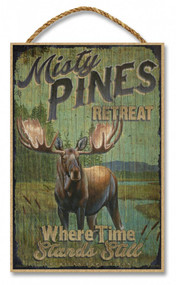 "Misty Pines Retreat Rustic Advertising Wooden 7"" x 10.5"" Sign"