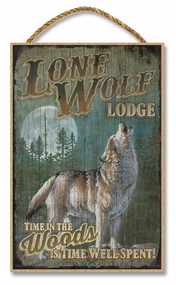 "Lone Wolf Lodge Rustic Advertising Wooden 7"" x 10.5"" Sign"