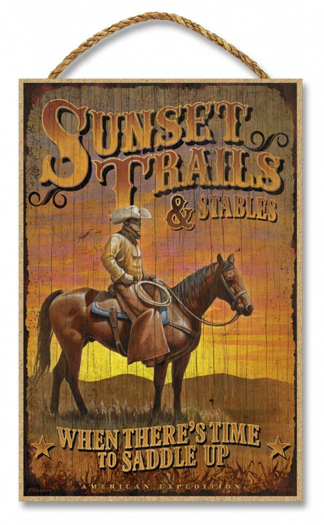 Sunset Trails Amp Stables Rustic Advertising Wooden 7 Quot X 10