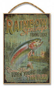 "Rainbow Springs Fishing Lodge Rustic Advertising Wooden 7"" x 10.5"" Sign"