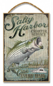 "Salty Harbor Charter Service Rustic Advertising Wooden 7"" x 10.5"" Sign"