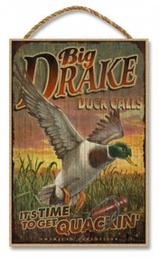 "Big Drake Duck Calls Rustic Advertising Wooden 7"" x 10.5"" Sign"