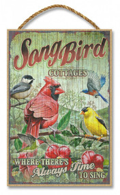 """Song Bird Cottages Rustic Advertising Wooden 7"""" x 10.5"""" Sign"""