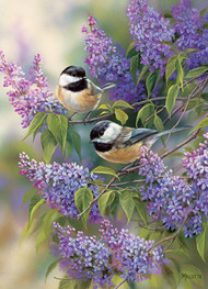 "1000 Piece ""Chickadees and Lilacs"" Puzzle"