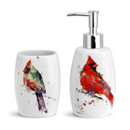Cardinal Soap Dispenser and Tumbler