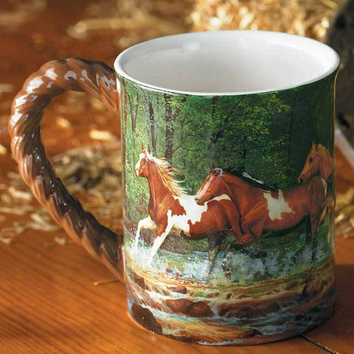 Spring Horses Sculpted Coffee Mug