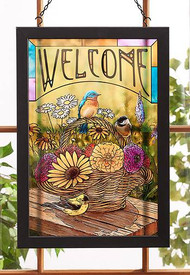 Songbird Basket Stained Glass Art