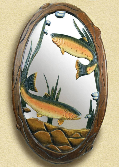 Rainbow Trout Hand Carved Wooden Mirror