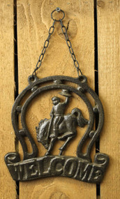 Front view of the cowboy welcome wall plaque