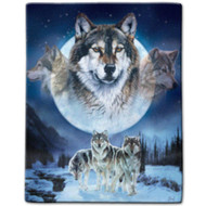 """Wolf Pack"" Luxury Queen Plush Blanket"