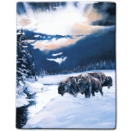 """Winter Spirit Bison"" Luxury Queen Plush Blanket"