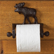 Moose cast iron toilet paper holder on wall