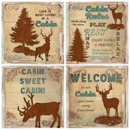 Whitetail Deer Lodge Signs Coasters Set of Four