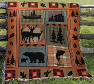 "Front of Camouflage Blessings ""In Memory Of"" Woven Blanket"