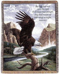 Front of Waterfall Eagle with Verse Woven Blanket
