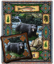 Bear Lodge Woven Blanket and Pillow Set