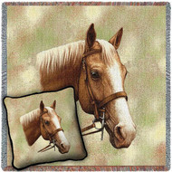 Palomino Horse Woven Blanket and Pillow Set