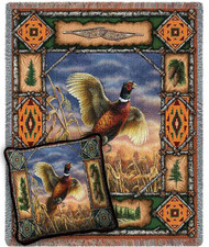 Pheasant Lodge Woven Blanket and Pillow Set