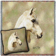Welsh Pony Horse Woven Blanket and Pillow Set