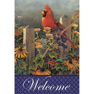 Wildflowers and Cardinal Welcome Flag