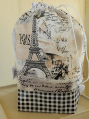 Tricot Medium Drawstring Knitting Bag - Paris Monuments