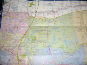 Map of Bangkok Large Size / Large Type / Bilingual English - Thai Language