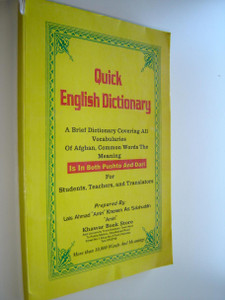 Afghan made QUICK ENGLISH DICTIONARY / A brief dictionary covering all Vocabularies of Afghan