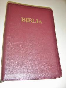 Romanian Large Biblia / Romanian Bible Leather Bound BURGUNDY Color with Zipper / Thumb Index / Biblia sau Sfanta Scriptura A Vechiului Si Noului Testament Cu Trimiteri