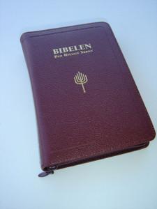 Norwegian Bible / Burgundy Leather Bound, Zipper, Golden Edges