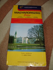 Hungary Road Map with Index / 1:450000 / Budapest City and Through Roads Map / Cartographia