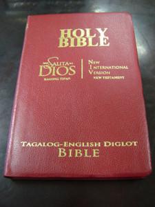 Tagalog - English New Testament BURGUNDY Cover, Golden Edges / Modern Tagalog Version