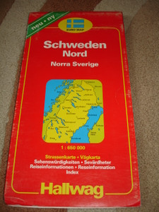 Sweden North Road Map with Index/ 1:650000/ Euro Map / Places of Interest