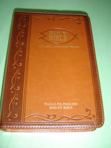 Tagalog - English Bilingual Bible / Luxury BROWN Leather Bound / Silver Edges, Diglot