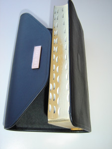 Leather Slimline Russian Bible / with Magnetic Closure, Black Leather, Compact Reference Bible With Snap Flap