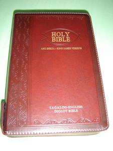 Tagalog - English Bilingual Bible / Luxury Dark BURGUNDY