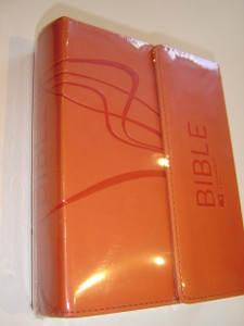 Orange Leather Bound Czech Bible Ecumenical Translation with Flap Cover, and Thumb Index