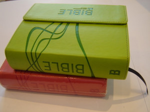 Neon Green Leather Bound Czech Bible Ecumenical Translation with Flap Cover, and Thumb Index / Column Refrences