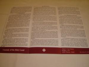 Tabgha Santuario del Primato di Pietro / Pamphlet in Italian Language about The Place of the Sermon of the Mount ...