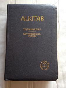 Indonesian - English Bilingual Bible / Alkitab Holy Bible: Indonesia - Inggris / Golden Edges, Thumb Index, Grey Imitation Leather bound