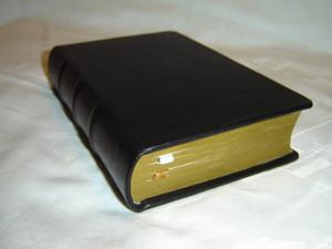 Polish Black Genuine Leather Bound Bible with Golden Edges / M043 Small Size / Biblia to jest Pismo Swiete Starego I Nowego Testamentu