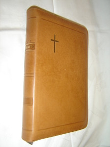 Finnish Luxury Brown Leather Bound Bible / 122x180 mm Size, Zipper, Thumb Indexed / Pyha Raamattu