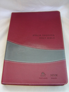 Portuguese - English Holy Bible / Burgundy Leather Bound / Biblia Sagrada NVI Portugues - Ingles Vinho e Cinza