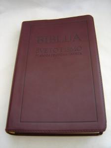 Croatian Leather Bible / Burgundy Cover with Golden Edges / Biblija Sveto Pismo