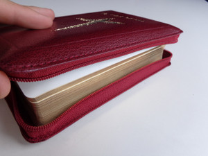 Fijian Holy Bible / Compact Burgundy Leather Bound with Zipper, Golden Edges / 44ZBUR / Ai Vola Tabu
