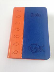 Bibla - Albanian Pocket Size Bible / Orange - Blue Leather Bound Edition